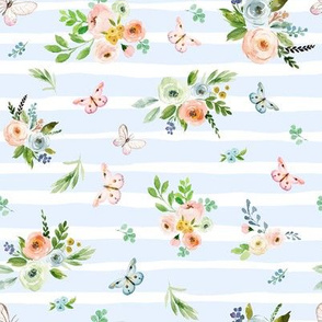 "8"" Spring Time Bunny Florals Pale Blue Stripes"