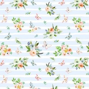"4"" Spring Time Bunny Florals Pale Blue Stripes"
