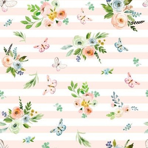 "8"" Spring Time Bunny Florals Pale Peach Stripes"