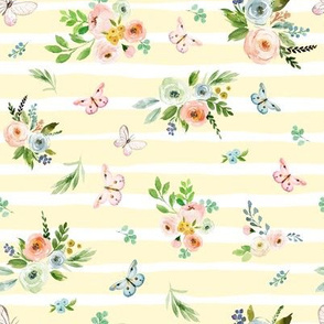 "8"" Spring Time Bunny Florals Pale Yellow"