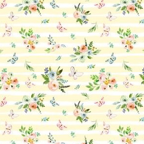 "4"" Spring Time Bunny Florals Pale Yellow"