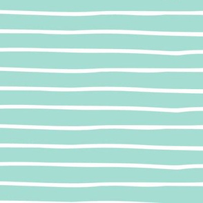 Mint Stripes - Hand Drawn Geometric Shapes Baby Nursery Kids Children GingerLous