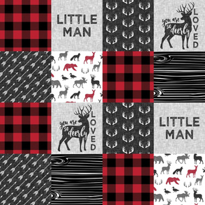 You are so deerly loved & Little Man  - buffalo check woodland patchwork fabric