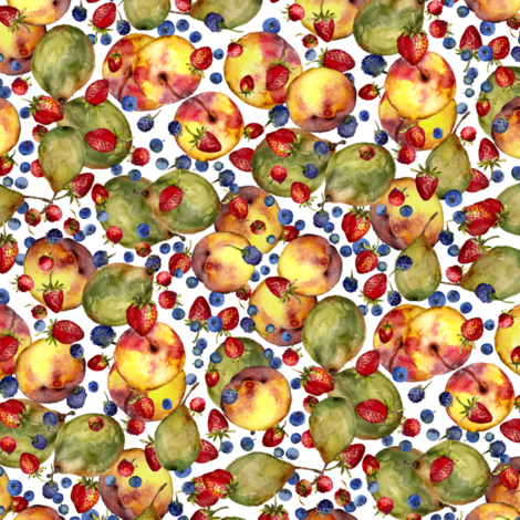 summer fruit watercolor print on white fabric by madeinskandia on Spoonflower - custom fabric