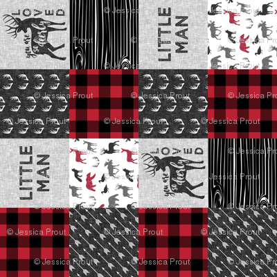 You are so deerly loved & Little Man  - buffalo check woodland patchwork fabric (90)