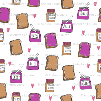 pbj // peanut butter and jelly fun kids foods fabric white purple
