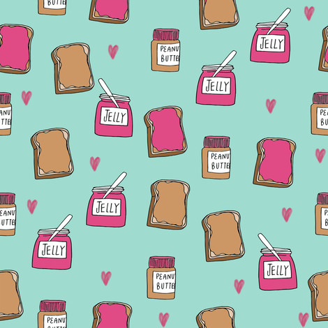 pbj // peanut butter and jelly fun kids foods fabric mint fabric by andrea_lauren on Spoonflower - custom fabric