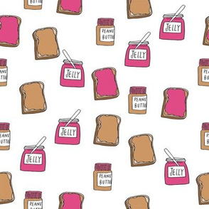 pbj // peanut butter and jelly fun kids foods fabric white pink