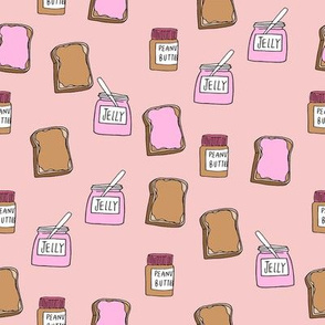 pbj // peanut butter and jelly fun kids foods fabric pink
