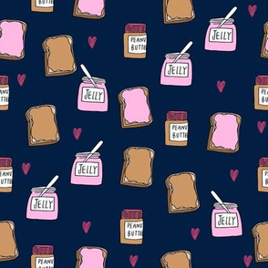 pbj // peanut butter and jelly fun kids foods fabric navy