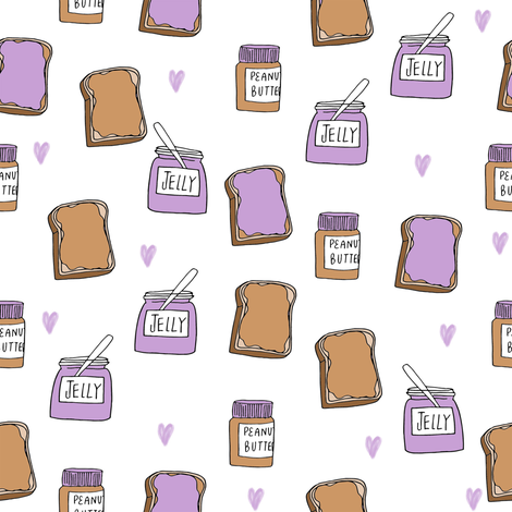 pbj // peanut butter and jelly fun kids foods fabric white lavender fabric by andrea_lauren on Spoonflower - custom fabric