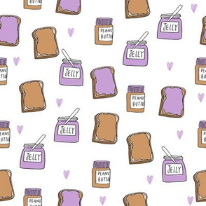pbj // peanut butter and jelly fun kids foods fabric white lavender