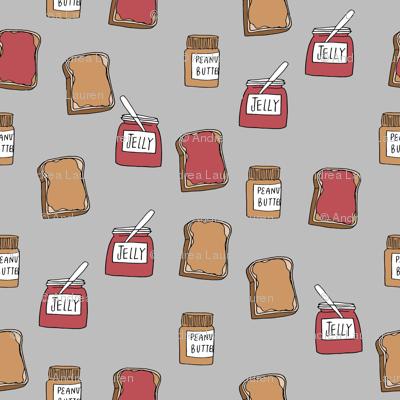 pbj // peanut butter and jelly fun kids foods fabric grey