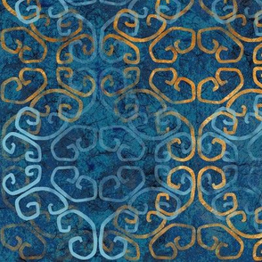 batik scroll - sapphire with gold