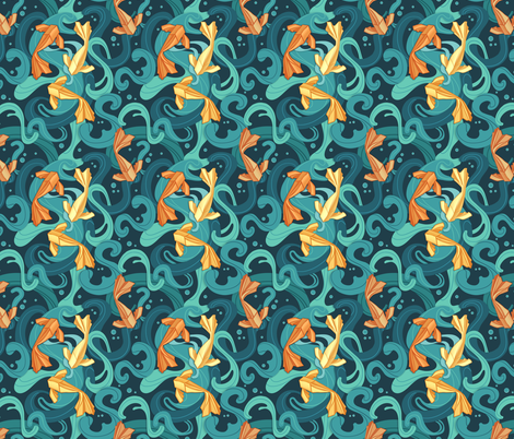 Gold fish origami fabric by torysevas on Spoonflower - custom fabric