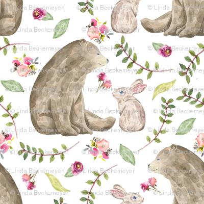 Bear & Bunny Friends - Floral Woodland Baby Girls Nursery Bedding GingerLous A