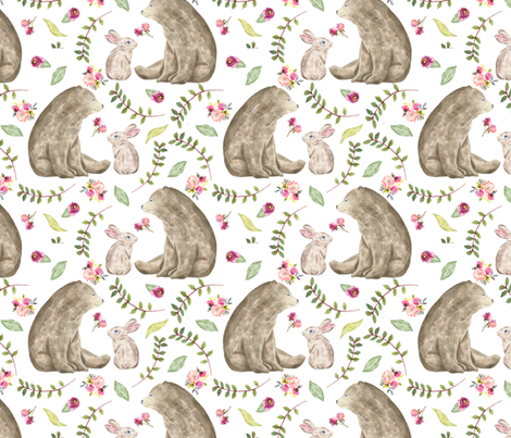Bear & Bunny Friends - Floral Woodland Baby Girls Nursery Bedding GingerLous A fabric by gingerlous on Spoonflower - custom fabric