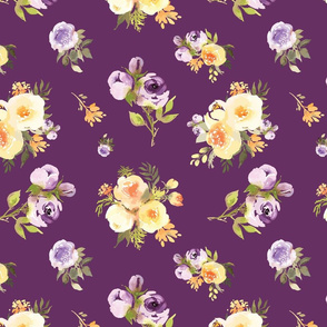 Deep dark Purple and yellow floral