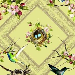 hummingbird watercolor on spring green