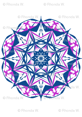 Circling Diamond Stars of Indigo and  Purple on White