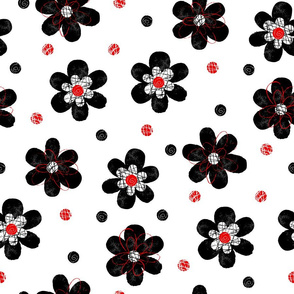 Doodle Button Floral Black Red