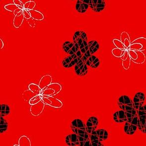 Doodle Floral Black Red