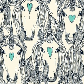 unicorn love indigo mint pearl