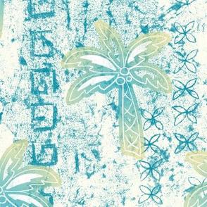 palms batik - teal