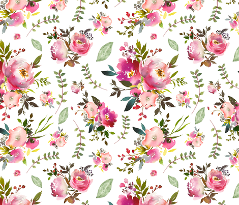 Watercolor Peonies & Roses - Floral Pink Plum Blush Flowers Garden Blooms Baby Girl Nursery A fabric by gingerlous on Spoonflower - custom fabric