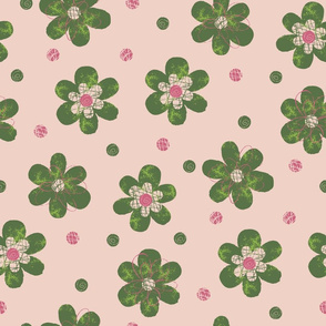 Doodle Button Floral Green Pink