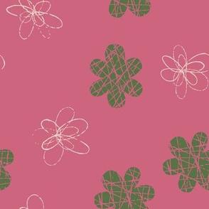 Doodle Floral Green Pink