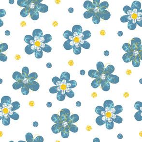 Doodle Button Floral Blue Yellow