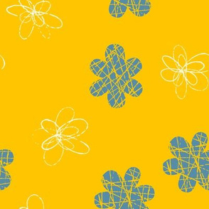 Doodle Floral Blue Yellow