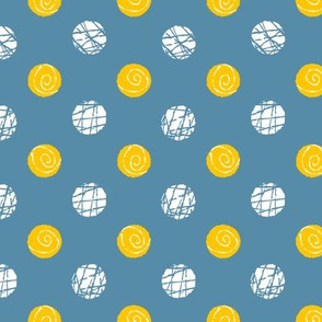Doodle Buttons Blue Yellow