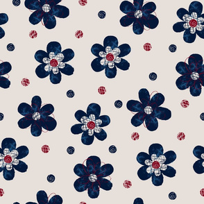 Doodle Button Floral Navy Maroon