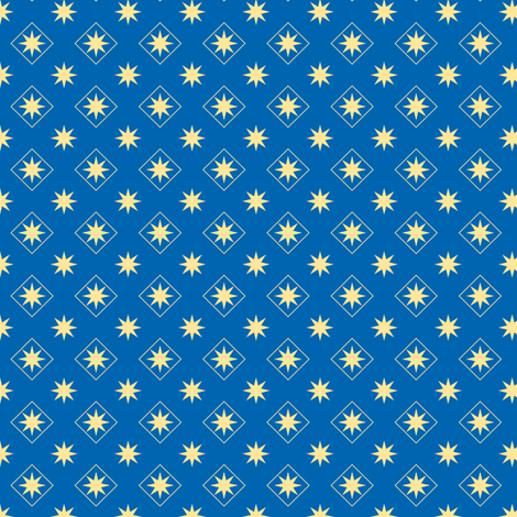 Stars and Diamonds on Blue fabric by st_tabithas_workshop on Spoonflower - custom fabric