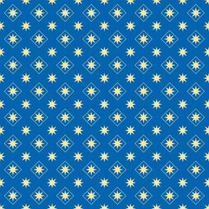 Stars and Diamonds on Blue