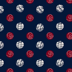 Doodle Buttons Navy Maroon