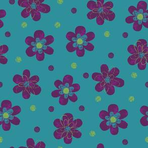 Doodle Button Floral Purple Green Teal