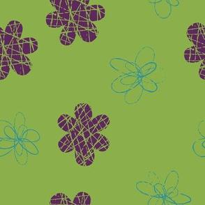 Doodle Floral Purple Green Teal