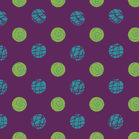 Doodle Buttons Purple Green Teal fabric by wickedrefined on Spoonflower - custom fabric