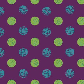 Doodle Buttons Purple Green Teal