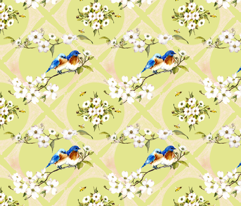 bluebirds and lace watercolor on spring green  fabric by madeinskandia on Spoonflower - custom fabric
