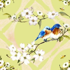 bluebirds and lace watercolor on spring green