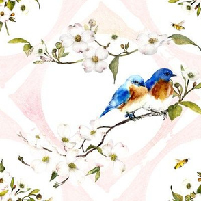 bluebird and lace watercolor on white