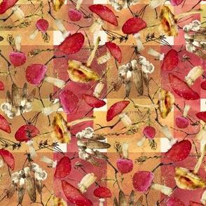 woodland mushrooms watercolor on warm plaid