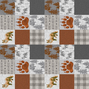 "3"" Fox Forest Quilt - Rust, grey, tan - Rotated"