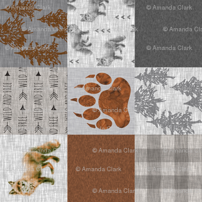 Fox Forest Quilt - Rust Brey Tan - Rotated