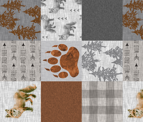 Fox Forest Quilt - Rust Brey Tan - Rotated fabric by sugarpinedesign on Spoonflower - custom fabric