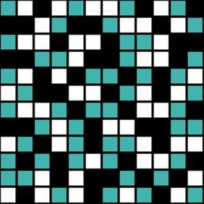 Medium Mosaic Squares in Black, Verdigris, and White